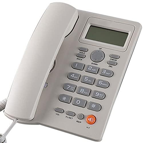 Inicio Teléfono con Cable, Big Button Mute Funcion Desk Teléfono con Identificación De Llamada Pantalla Teléfono Fijo Teléfono Fijo para Home Office Hotel, Sin Batería (Blanco),Blanco