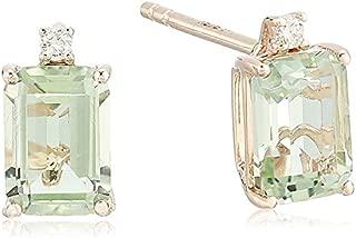 Women's 14K Rose Gold Green Amethyst/Diamond Stud Earrings, One Size