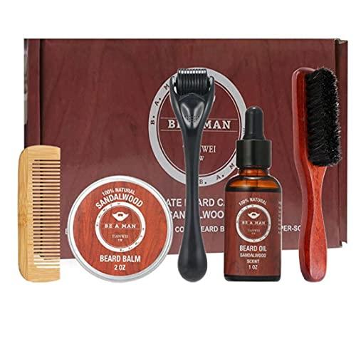 Kit para el cuidado de la barba crecimiento de la barba y estética kit de recorte del pelo fijados barba Peine Cepillo Estimular crecimiento de la barba con la regla shape regalo para los hombres