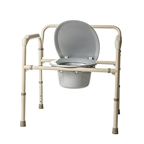 Price comparison product image HEALTHLINE Heavy Duty Commode Bariatric,  Medical Bedside Folding Bariatric Commode Chair Toilet for Elderly Seniors Disabled,  Wide,  650 lbs,  Gray