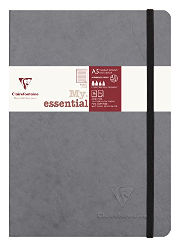 Clairefontaine 'Age Bag' Thread-Bound Notebook, A5, Lined, 192 Pages - Grey