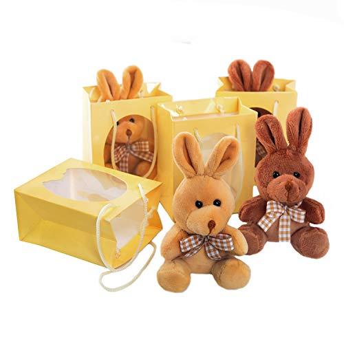 Logbuch-Verlag - 4 coniglietti pasquali in peluche, colore: marrone chiaro, in sacchetto regalo, piccolo regalo di Pasqua per bambini