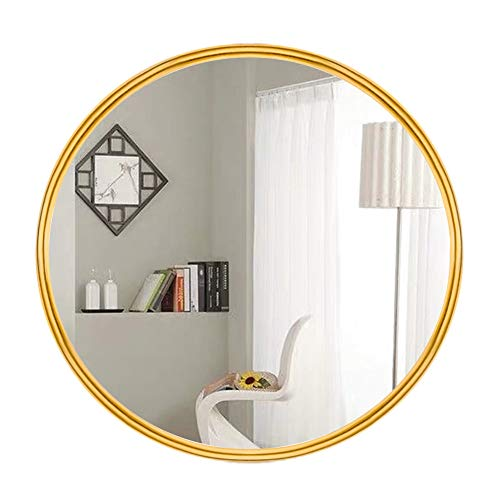 AUFHELLEN Rund Wandspiegel mit Metallrahmen aus Eisen Gold Spiegel aus Glas 50cm für Bad-, Ankleide- und Wohnzimmer Schminkspiegel (Gold)