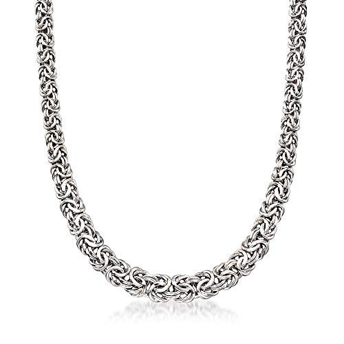 Ross-Simons Sterling Silver Graduated Byzantine Necklace For Women 16-20 Inch 925