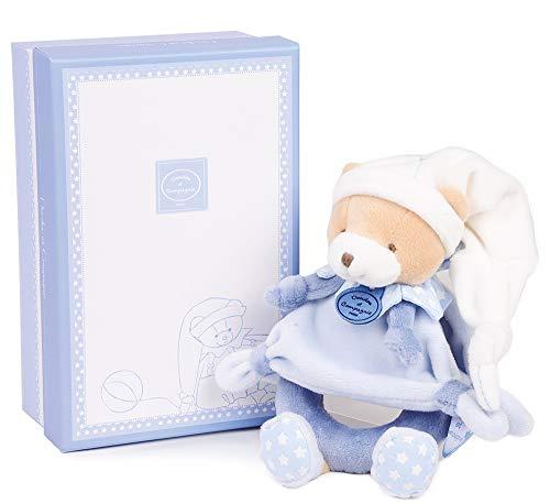Doudou et Compagnie - Doudou Hochet Bébé Ours - 19 cm - Bleige/Bleu - Cadeau De Naissance - Jolie Boîte Cadeau - Ours Petit Chou - DC2713