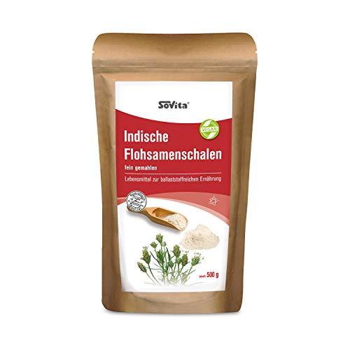 Cuencos de semillas de pulga, finamente molidos para una dieta rica en fibra, alimentos, 500 g