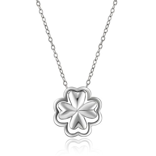 Billie Bijoux Best Christmas Gift 925 Sterling Silver Four Leaf Clover Pendant Clavicle Necklace