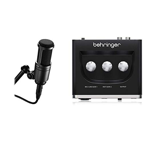 """Audio-Technica AT2020 Cardioid Condenser Studio XLR Microphone, Black, Ideal for Project/Home Studio Applications & BEHRINGER Audio Interface, 1x XLR/TRS 1x 1/4"""" 2X RCA USB, Black, 1-Channel (UM2)"""