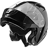 Nexo Klapphelm Motorradhelm Helm Motorrad Mopedhelm Basic II, Thermoplasthelm mit Sonnenblende, klares, kratzfestes Visier, 1.550 g, mehrfache Be- und Entlüftung, Ratschenverschluss, Schwarz, XL