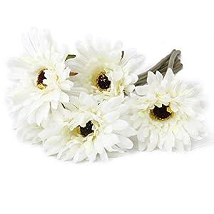 VORCOOL 5piezas artificial Gerbera margaritas blancas flores boda fiesta decoración para el hogar