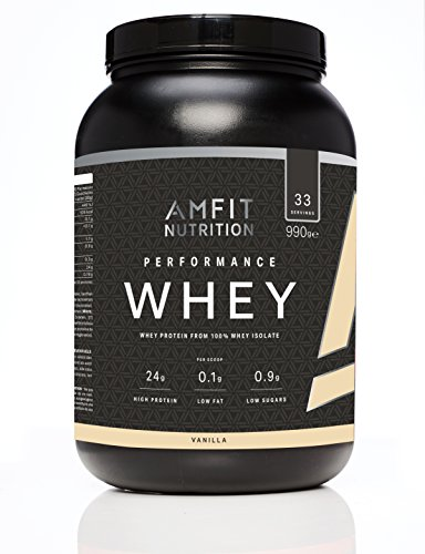 Amazon Brand- Amfit Nutrition Performance Whey Protein Powder from 100% Whey Isolate, Vanilla, 33 Servings,  990 g