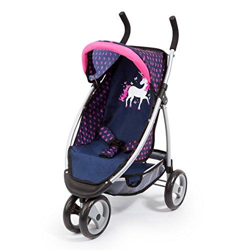 Bayer Design 39954AA Puppenwagen Jogger Sport, für Puppen bis ca. 50cm, mit integrierten Gurt, modernes Einhorn Design, blau pink