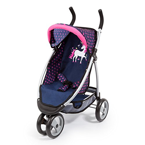 Bayer Design 39954AA Dolls Pram Dolls Stroller Jogger with Beautiful Unicorn Design, Smooth-Running Wheels, Safety Belt, Blue Pink