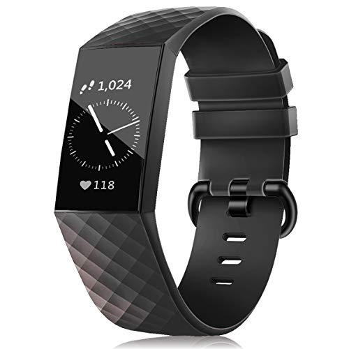 Wekin Replacement Bands Compatible with Fitbit Charge 4/ Charge 3/ Charge 3 SE, Breathable Sports Waterproof Silicone Strap Wristband for Women Men Small Large
