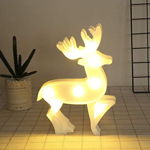 QLING Luz Noche 3D LED Decoración Fiesta Navidad Lámpara Forma Reno Iluminación Mesita Noche Hogar para niños...