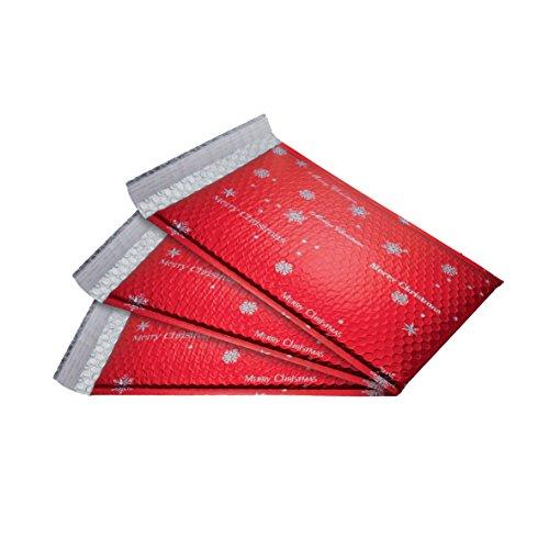 SIGEL GB107 Weihnachts-Luftpolstertaschen, 3 Stück, circa C4, Silberdruck, rot