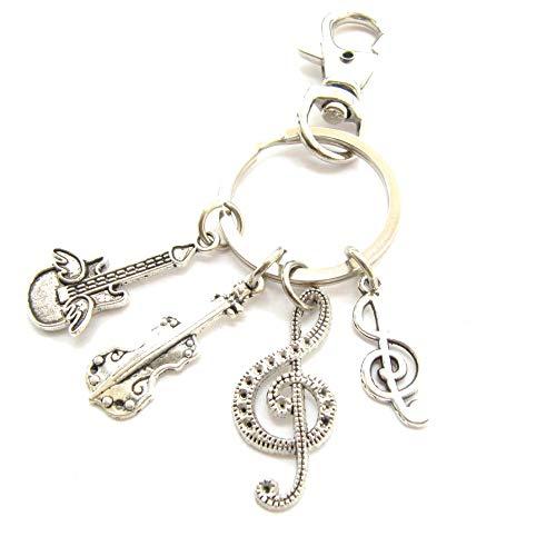 Llavero de guitarra de plata con micrófono y música para hombre, para...