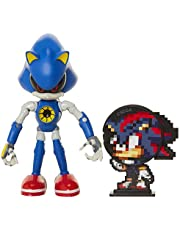 "Sonic The Hedgehog Collectible Metal Sonic 4"" Bendable Flexible Action Figure with Bendable Limbs & Spinable Friend Disk Accessory Perfect for Kids & Collectors Alike for Ages 3+"