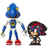 Sonic The Hedgehog Collectible Metal Sonic 4' Bendable Flexible Action Figure with Bendable Limbs & Spinable Friend Disk Accessory Perfect for Kids & Collectors Alike for Ages 3+