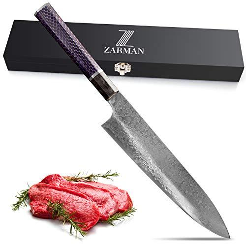 ZARMAN Samurai Küchenmesser - scharfes Damastmesser Kuchenmesser Messergriff aus Bienenwabe und Metall