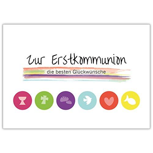Moderne Grusskarte mit christlichen Symbolen in Regenbogen Farben