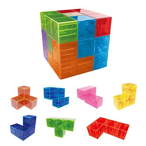 Ladrillos Magnéticos Niños, Juego Cubos Bloques Construcción Magnéticos, Cubo Mágico Magnético + 54 Piezas Tarjeta Muestra, Aprendizaje Cubos Magnéticos Juego Entrenamiento Cerebral