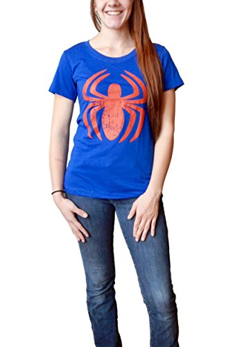 Marvel Spider-Man Logo Juniors T-Shirt (Medium) Blue