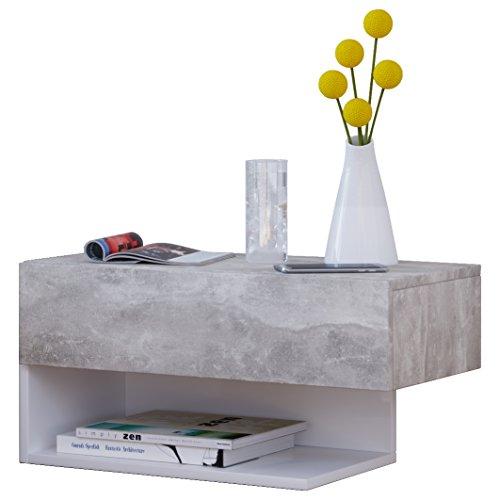 VCM Klado Maxi Wandregal/Wandschrank/Wandschublade mit schublade Wand, Holzdekor, Beton-Optik/Weiß, 29.13 x 60 x 31.5 cm