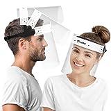 HARD Pantalla Protección Facial 1 x Soporte y 2 x Viseras intercambiables, Face Shield abatible con antivaho, Visera con cierre ajustable - Negro/Blanco