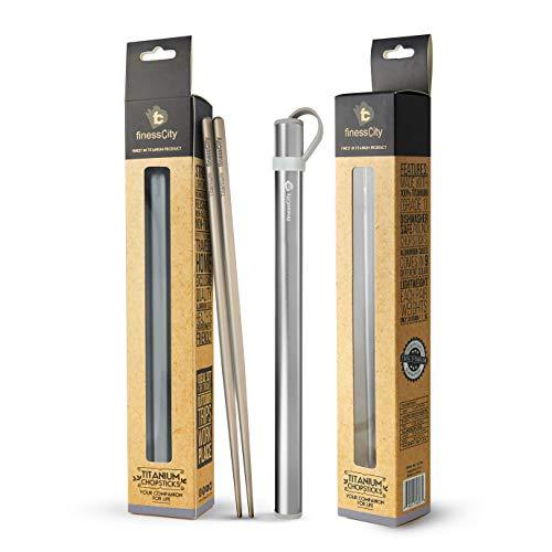 finessCity Titanium Chopsticks with Aluminium Case - Grey