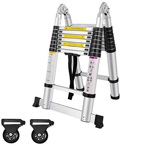 AUFUN Escalera Telescópica 5m Escalera de Aluminio Plegable Antideslizante Extensible multifunción Carga máxima: 150 kg Escaleras de uso múltiple - Plegable (2,5 + 2,5 M)
