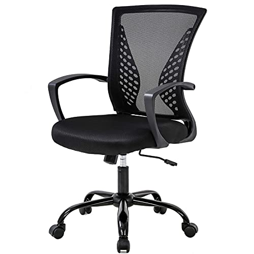 Black Office Chair Conference Room Chairs Ergonomic Desk Chair Mesh Computer Chair with Lumbar SupportCute Desk Chair for Home Meeting Room Office Room