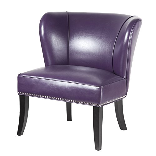 Contemporary Purple Faux Leather Upholstered Armless Accent Chair with Nailhead Trim and Dark Wood Legs - Includes ModHaus Living Pen