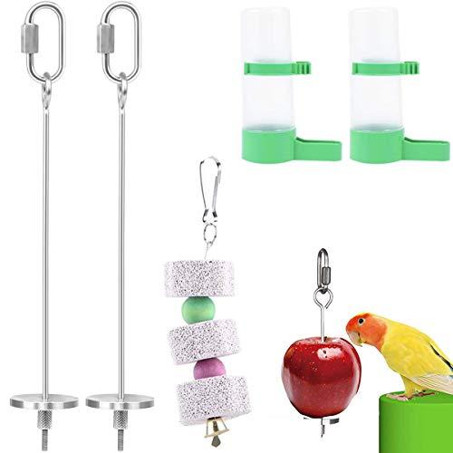 Binjor 2pcs Pájaros para Verduras Comedero Acero Inoxidable Retirable Porta Frutas para Pájaros Pincho Loro Titular Fruta Pájaro con 1 Cadena de Piedra Loro Molar 2 Bebedero automático para jaulas