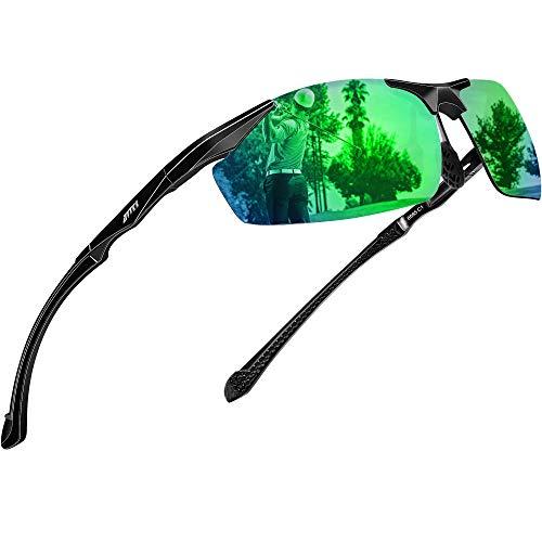 ATTCL Herren Sportbrille Polarisierte Sonnenbrille Fahrerbrille Al-Mg Metall Rahme Ultra Leicht (8585 Green)