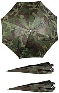 Monland 3Pcs Sun Umbrella Hat Outdoor Fishing Camping Headwear Head Hat Cap Camouflage Head Umbrella