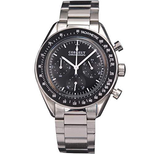 Herren Quarz Chronograph Uhr Mode Edelstahl Leger Sport Armbanduhr, Silber