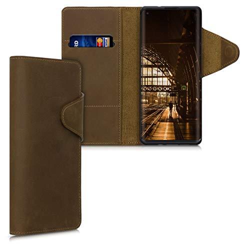 kalibri Wallet Hülle kompatibel mit Motorola Edge (2020) - Hülle Leder - Handy Cover Handyhülle in Braun