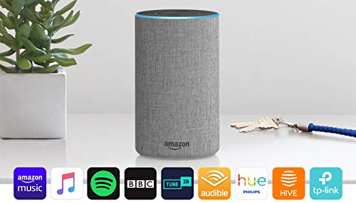 Amazon Echo (2nd generation) - Smart speaker with Alexa - Heather Grey Fabric