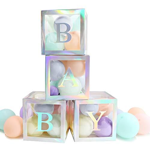 VINFUTUR Cajas Decoración Cumpleaños Bautizo Kit, 4pcs Cajas de Globos Transparente+Letras Baby Suministros Materiales para Decoración Baby Shower Fiesta Boda Cumpleaños Niños