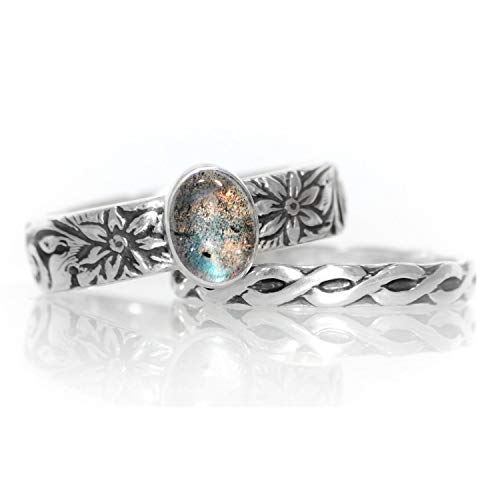 Sterling Silver Labradorite Engagement Ring and Celtic Knot Eternity Wedding Band Set