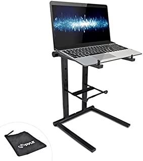 Pyle Portable Folding Laptop Stand - Standing Table with Foldable Height and Secondary Accessory Tray for iPad, Tablet, DJ Mixer, Workstation, Gaming and Home Use with Bag - PLPTS35