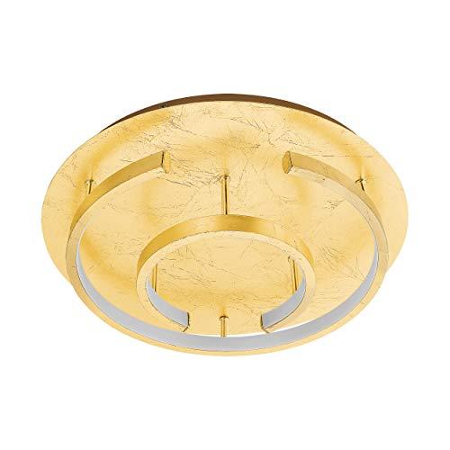 EGLO LED Deckenleuchte Pozondon, 2 flammige Deckenlampe Modern, Extravagant, Wohnzimmerlampe aus Stahl und Kunststoff, Küchenlampe, Flurlampe Decke in gold Schlagmetall-Optik, weiß, 98487, Goldfarben