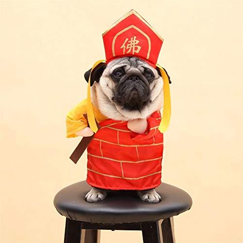 BHNDALB Perro Gato Disfraces De Buda Tang Monk Cosplay Traje Ropa para Mascotas Regalos Ropa De Halloween para Cachorros Perros Disfraz para Un Gato
