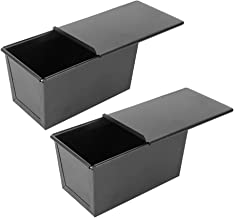 Bestonzon 2pcs Bread Baking Pan Non- Stick Loaf Pans with Cover Lids Carbon Steel Bread Pan Toast Mold Bakeware for Baking...