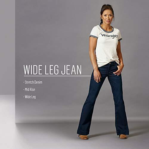 Wrangler Women's Retro Mae Mid Rise Wide Leg Trouser Jean, Dark Blue, 7W x 34L