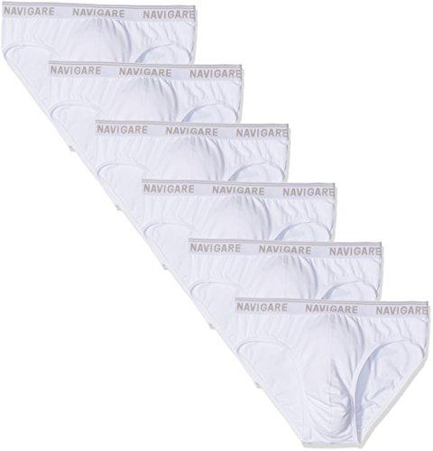 Navigare 574/E Slip, Bianco, Medium (Taglia produttore:4), Pacco da 6, Uomo