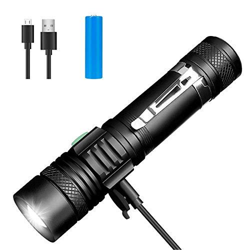 Winzwon LED Taschenlampe, USB Wiederaufladbare Taschenlampen, LED Taschenlampe Extrem Hell, Wasserdicht Flashlight mit 4 Modi für Kinder, Outdoor Camping Wandern (Inklusive 18650 Batterie)