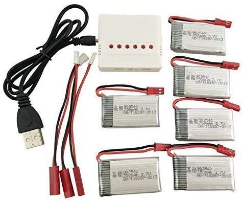 Fytoo 6PCS Batterie Lipo Ricaricabili (3,7V 750mAh Lipo) + Caricatore 6in1 per Rc Droni Quadricotteri MJX X400 X800 X300C X500 Batteria Pezzi di Ricambio