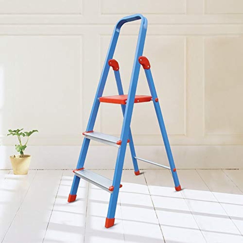XITER Schritt Hocker Aluminium 3 Schritt Hocker Leiter für Erwachsene & Kinder Küche Klappstühle Tragbare Fuhocker Trittleiter (Farbe   Blau)